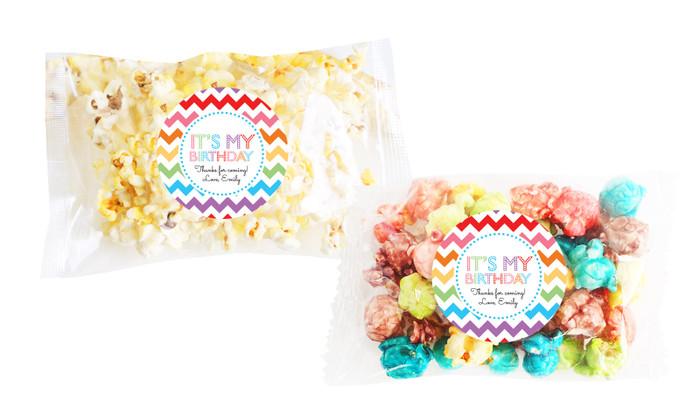 Chevron Rainbow Popcorn Bags With Personalisation