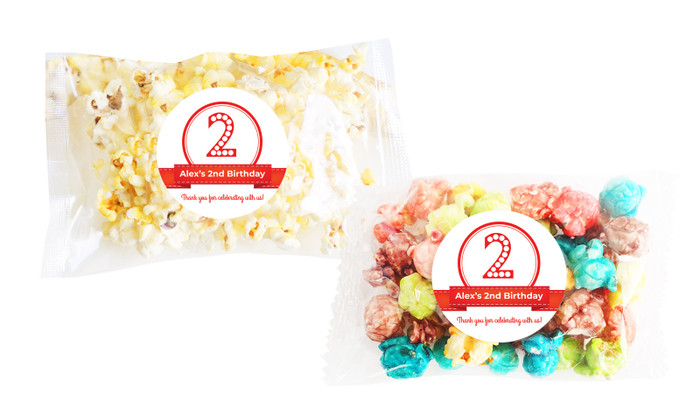 Numbers In Red Popcorn Bags With Personalisation