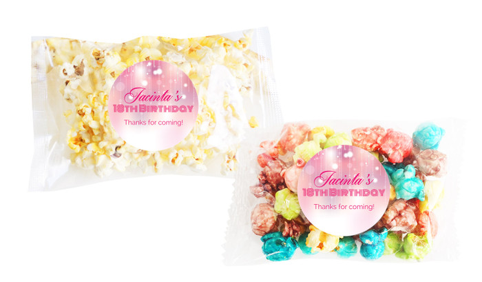 Pink Glam Popcorn Bags With Personalisation
