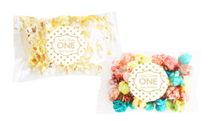 Gold Polkadots Popcorn Bags With Personalisation