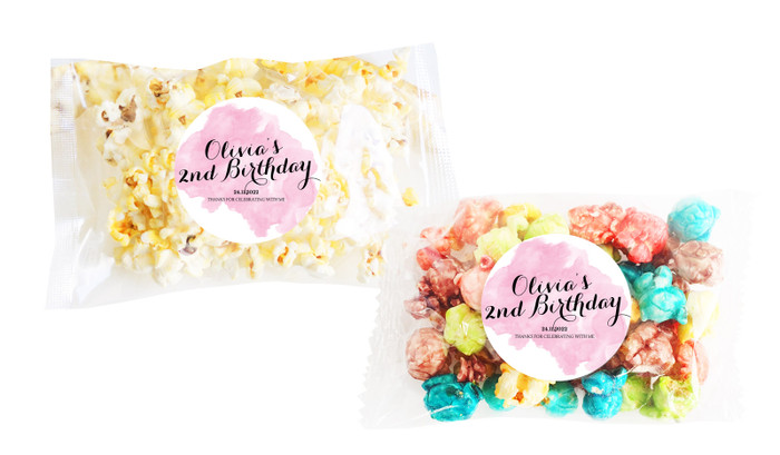 A Splash Of Watercolour Pink Popcorn Bags With Personalisation