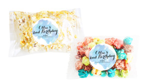 A Splash Of Watercolour In Blue Popcorn Bags With Personalisation