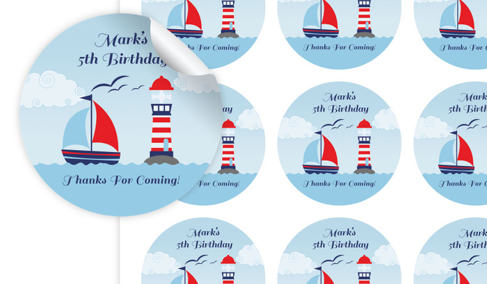 Boats At Sea Personalised 65mm Labels