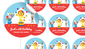 Circus Animals Personalised 65mm Labels