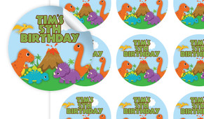 Dinosaurs Personalised 65mm Labels