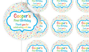 Happy Dots Personalised 65mm Labels