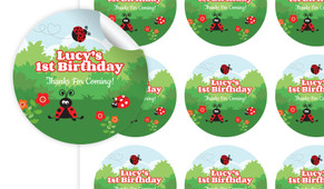 Lady Bug Personalised 65mm Labels