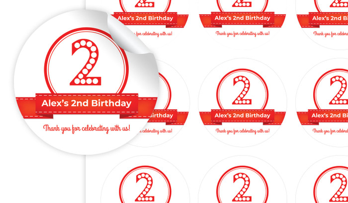 Numbers In Red Personalised 65mm Labels