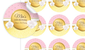 Pink & Gold Personalised 65mm Labels