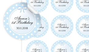 Polkadot Blue Personalised 65mm Labels