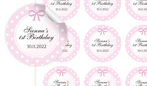 Polkadot Pink Personalised 65mm Labels
