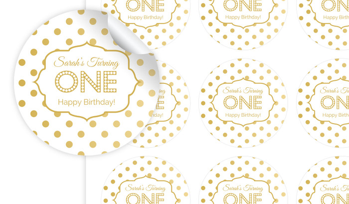 Gold Polkadots Personalised 65mm Labels