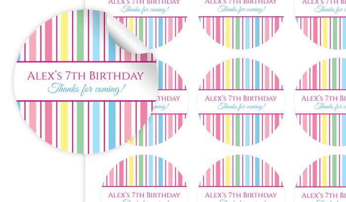 Pastel Stripe Personalised 65mm Labels
