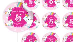 Unicorn Trio Personalised 65mm Labels