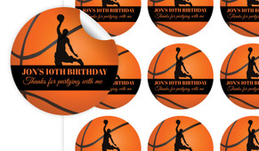 Basketball Personalised 65mm Labels