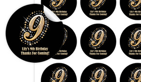 Golden Number Personalised 65mm Labels