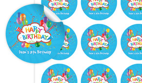Happy Confetti Personalised 65mm Labels