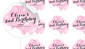 A Splash Of Watercolour In Pink Personalised 65mm Labels