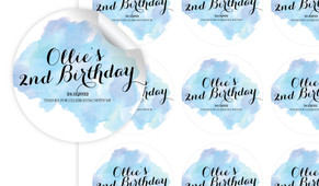 A Splash Of Watercolour In Blue Personalised 65mm Labels