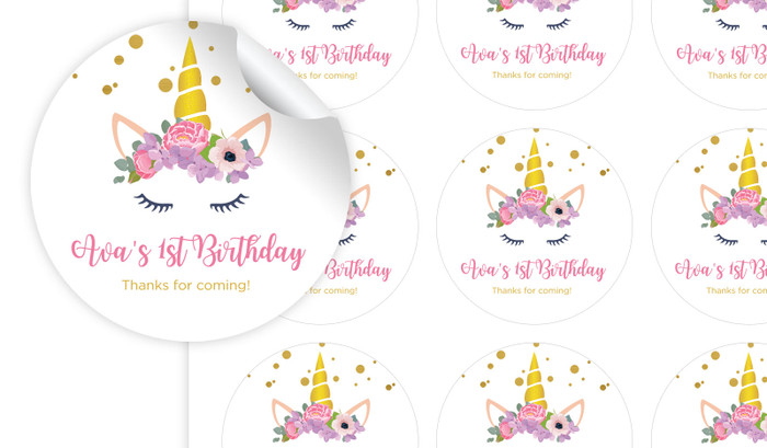 A Pretty Unicorn Personalised 65mm Labels