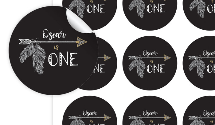 Boho Arrow Personalised 65mm Labels