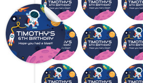 Astronaut Personalised 65mm Labels