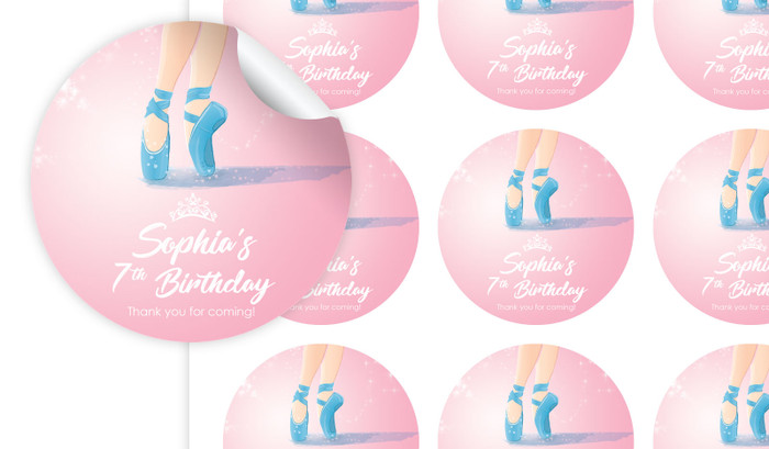 Ballet Shoes Personalised 65mm Labels