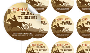 Cowboy Party Personalised 65mm Labels
