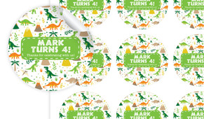 Dinosaur Background Personalised 65mm Labels