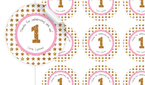 Gold Stars Personalised 65mm Labels