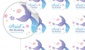 Mermaid Personalised 65mm Labels