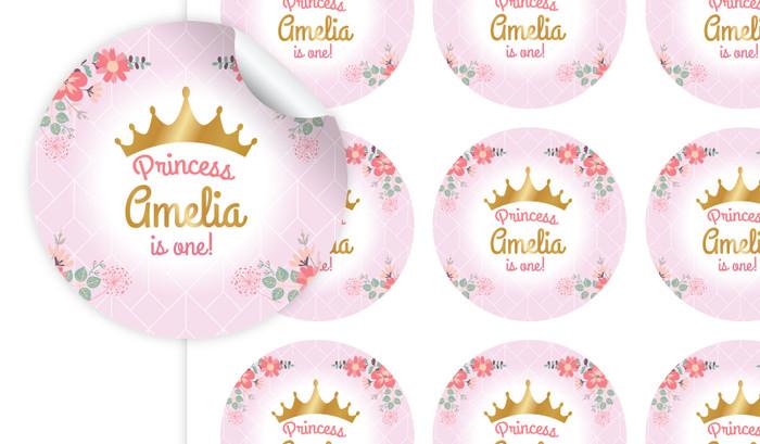 Princess Tiara Personalised 65mm Labels