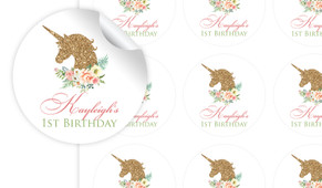 Golden Unicorn Personalised 65mm Labels