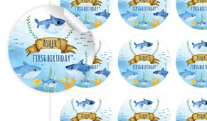 Baby Sharks And Family Personalised 65mm Labels
