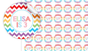 Chevron Rainbow Personalised 25mm Labels