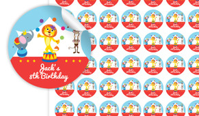 Circus Animals Personalised 25mm Labels