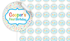 Happy Dots Personalised 25mm Labels