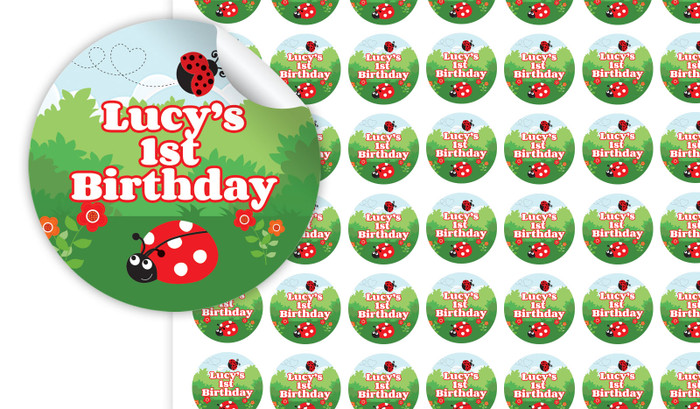 Lady Bugs Personalised 25mm Labels