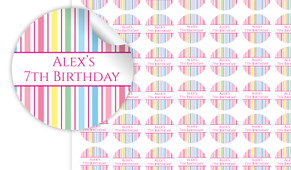 Pastel Stripe Personalised 25mm Labels