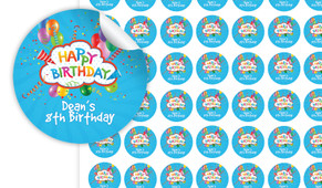Happy Confetti Personalised 25mm Labels