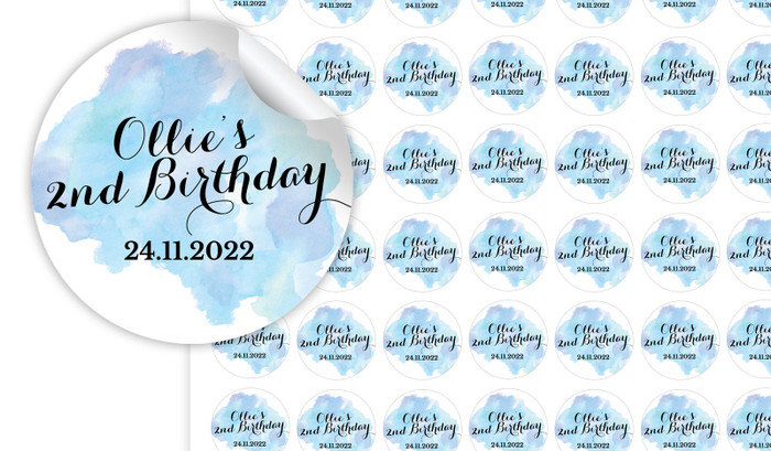 A Splash Of Watercolour In Blue Personalised 25mm Labels