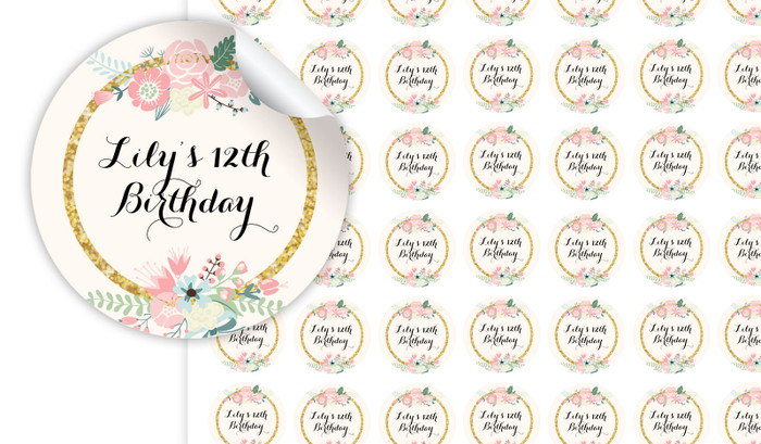 Spring Florals Personalised 25mm Labels