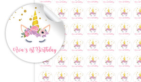 A Pretty Unicorn Personalised 25mm Labels