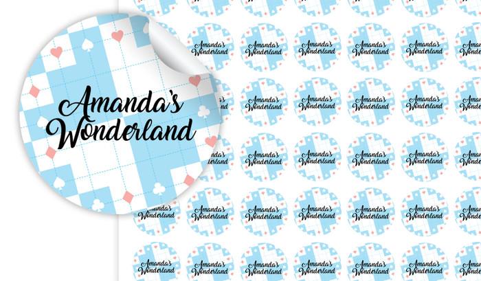 Alice In Wonderland Personalised 25mm Labels