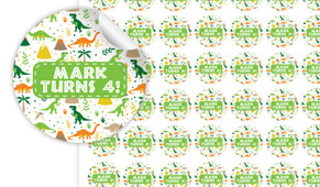 Dinosaur Background Personalised 25mm Labels