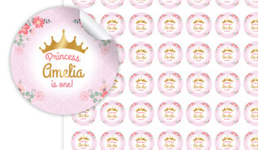 Princess Tiara Personalised 25mm Labels