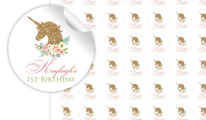 Golden Unicorn Personalised 25mm Labels