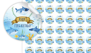 Baby Sharks And Family Personalised 25mm Labels