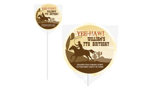 Cowboy Party Birthday Personalised Lollipops