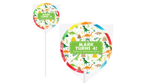 Dinosaur Background Birthday Personalised Lollipops